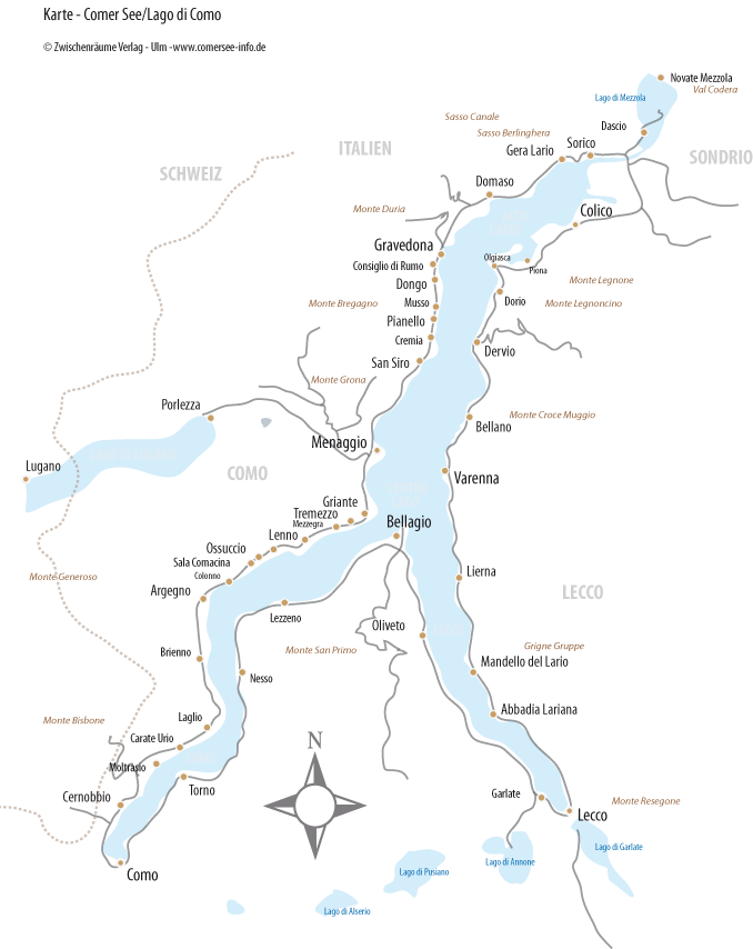 Bild zeigt Karte vom Comer See